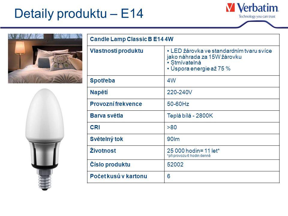 Detaily produktu – E14 Candle Lamp Classic B E14 4W Vlastnosti produktu LED žárovka ve standardním tvaru svíce jako náhrada za 15W žárovku Stmívatelná