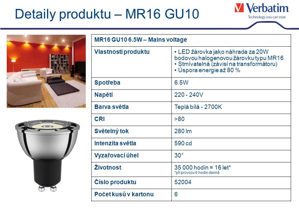 Detaily produktu – MR16 GU10 MR16 GU10 6.5W – Mains voltage Vlastnosti produktu LED žárovka jako náhrada za 20W bodovou halogenovou žárovku typu MR16 Stmívatelná (závisí na transformátoru) Úspora energie až 80 % Spotřeba6.5W Napětí220 - 240V Barva světlaTeplá bílá - 2700K CRI>80 Světelný tok280 lm Intenzita světla590 cd Vyzařovací úhel30° Životnost35 000 hodin = 16 let* *při provozu 6 hodin denně Číslo produktu52004 Počet kusů v kartonu6