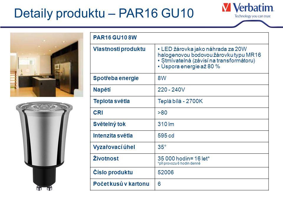 Detaily produktu – PAR16 GU10 PAR16 GU10 8W Vlastnosti produktu LED žárovka jako náhrada za 20W halogenovou bodovou žárovku typu MR16 Stmívatelná (závisí na transformátoru) Úspora energie až 80 % Spotřeba energie8W Napětí220 - 240V Teplota světlaTeplá bílá - 2700K CRI>80 Světelný tok310 lm Intenzita světla595 cd Vyzařovací úhel35° Životnost35 000 hodin= 16 let* *při provozu 6 hodin denně Číslo produktu52006 Počet kusů v kartonu6
