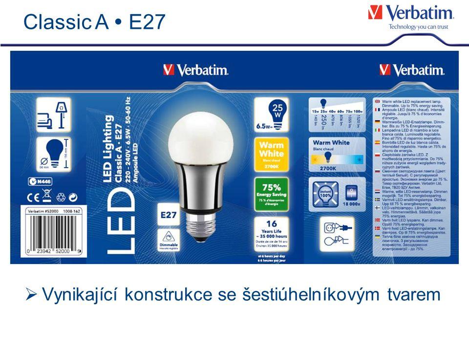 Verbatim LED – kvalita & certifikace Kvalita & Certifikace Komponenty: Verbatim provádí vlastní kontroly barevného slučování (colour-binning) Barevná konzistence zaručena Kontrola kvality: Vstupní kontrola Během výroby Výstupní kontrola Certifikace a prověření výkonu: Bezpečnostní normy: KEMA, TüV/GS, CE Ekologické normy: RoHS Oveření vlastností produktu: VSL Dodržování standardů společenské odpovědnosti firem: ILO (International Labour Organisation – Mezinárodní organizace práce) Prohlášení o zásadách Všeobecná deklarace lidských práv, UNO 1948