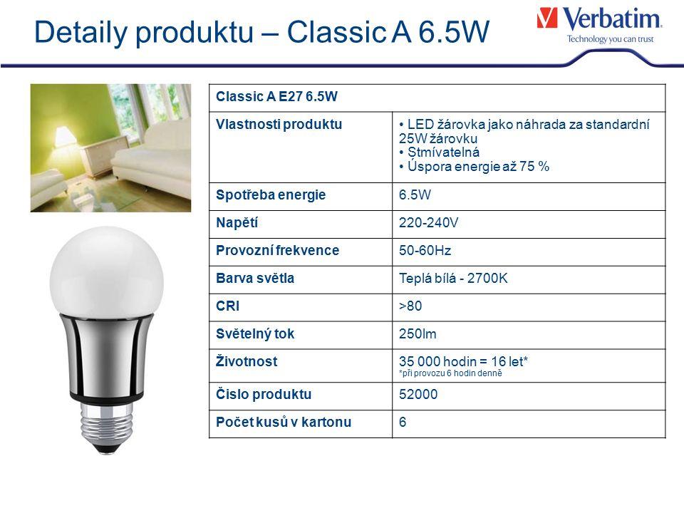Detaily produktu – Classic A 6.5W Classic A E27 6.5W Vlastnosti produktu LED žárovka jako náhrada za standardní 25W žárovku Stmívatelná Úspora energie až 75 % Spotřeba energie6.5W Napětí220-240V Provozní frekvence50-60Hz Barva světlaTeplá bílá - 2700K CRI>80 Světelný tok250lm Životnost35 000 hodin = 16 let* *při provozu 6 hodin denně Čislo produktu52000 Počet kusů v kartonu6