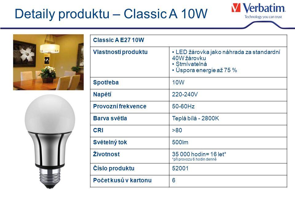 Detaily produktu – Classic A 10W Classic A E27 10W Vlastnosti produktu LED žárovka jako náhrada za standardní 40W žárovku Stmívatelná Úspora energie a