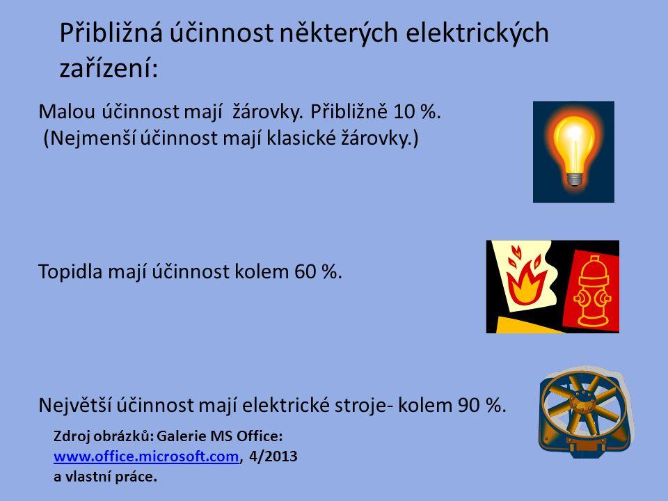 Přibližná účinnost některých elektrických zařízení: Malou účinnost mají žárovky.