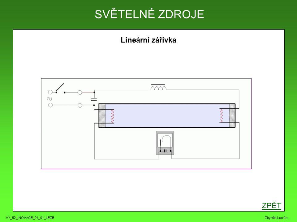VY_52_INOVACE_04_01_LEZB Zbyněk Lecián Lineární zářivka ZPĚT SVĚTELNÉ ZDROJE