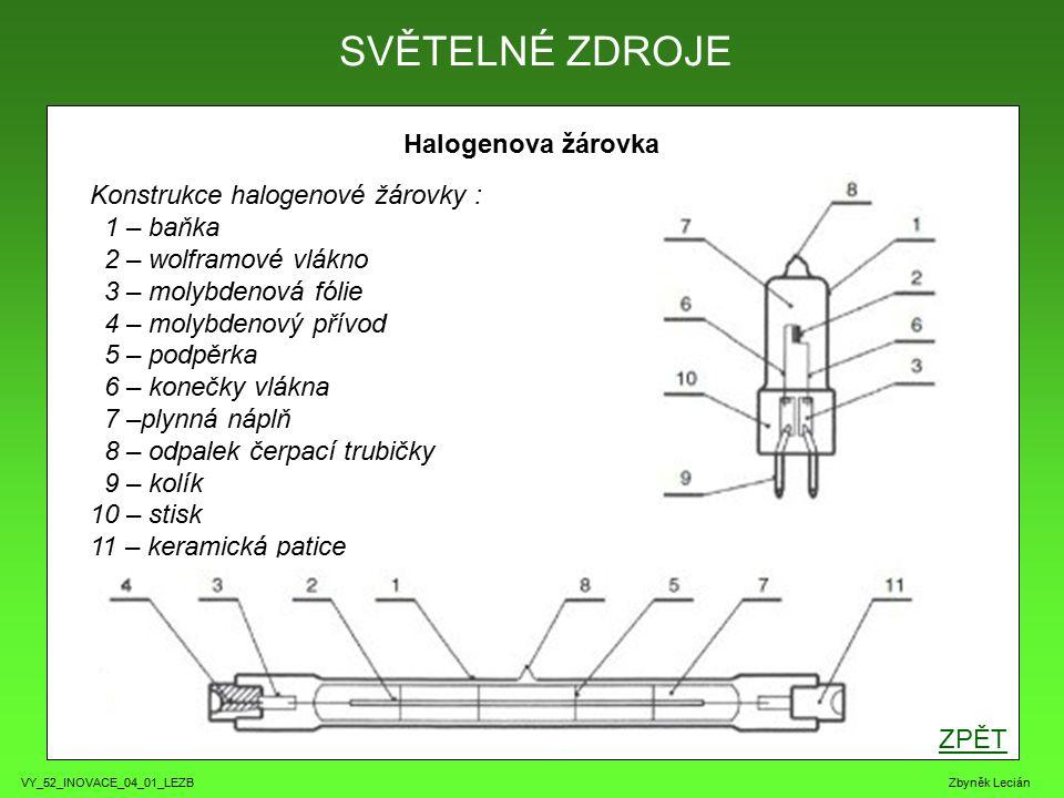 VY_52_INOVACE_04_01_LEZB Zbyněk Lecián Halogenova žárovka ZPĚT SVĚTELNÉ ZDROJE Konstrukce halogenové žárovky : 1 – baňka 2 – wolframové vlákno 3 – molybdenová fólie 4 – molybdenový přívod 5 – podpěrka 6 – konečky vlákna 7 –plynná náplň 8 – odpalek čerpací trubičky 9 – kolík 10 – stisk 11 – keramická patice