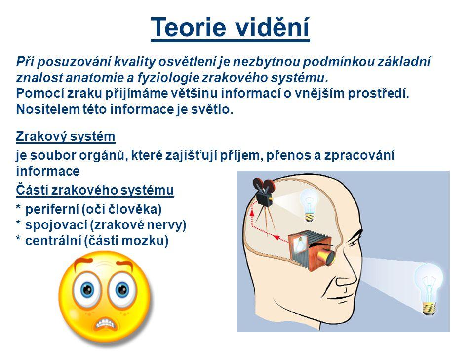 Teorie vidění Při posuzování kvality osvětlení je nezbytnou podmínkou základní znalost anatomie a fyziologie zrakového systému.