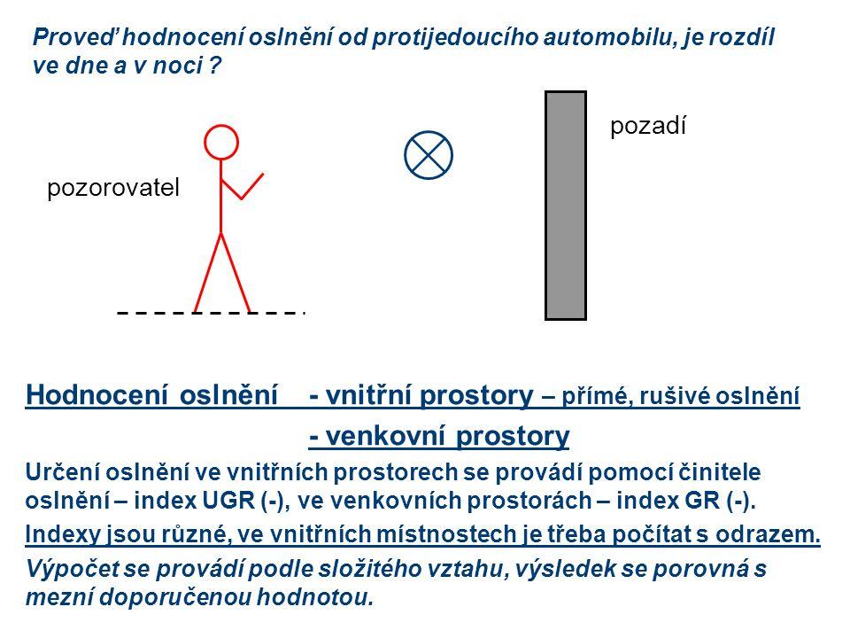 Hodnocení oslnění-vnitřní prostory – přímé, rušivé oslnění -venkovní prostory Určení oslnění ve vnitřních prostorech se provádí pomocí činitele oslnění – index UGR (-), ve venkovních prostorách – index GR (-).