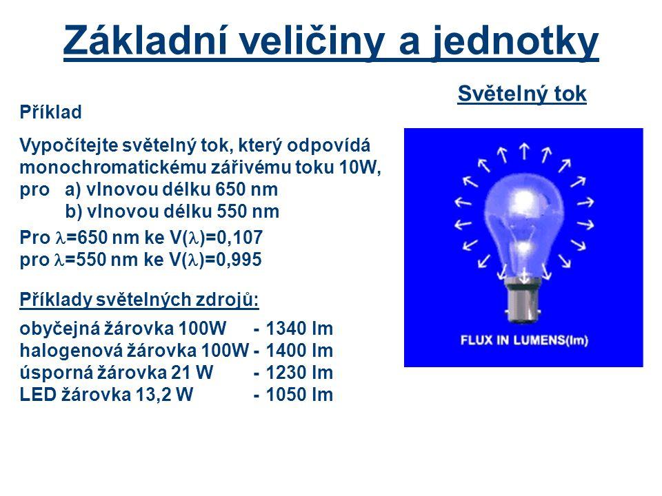 Základní veličiny a jednotky Světelný tok Příklad Vypočítejte světelný tok, který odpovídá monochromatickému zářivému toku 10W, pro a) vlnovou délku 650 nm b) vlnovou délku 550 nm Pro =650 nm ke V( )=0,107 pro =550 nm ke V( )=0,995 Příklady světelných zdrojů: obyčejná žárovka 100W-1340 lm halogenová žárovka 100W-1400 lm úsporná žárovka 21 W-1230 lm LED žárovka 13,2 W-1050 lm