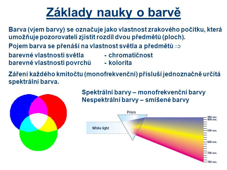 Barva (vjem barvy) se označuje jako vlastnost zrakového počitku, která umožňuje pozorovateli zjistit rozdíl dvou předmětů (ploch).