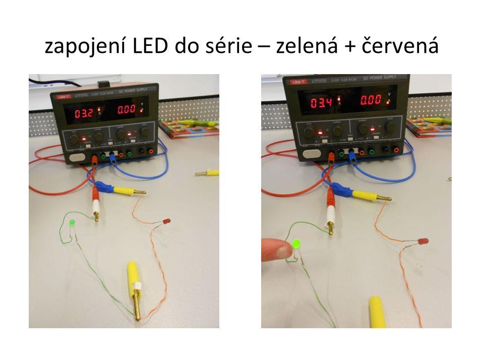 zapojení LED do série – zelená + červená