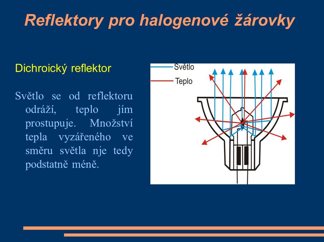 Reflektory pro halogenové žárovky Dichroický reflektor Světlo se od reflektoru odráží, teplo jím prostupuje.