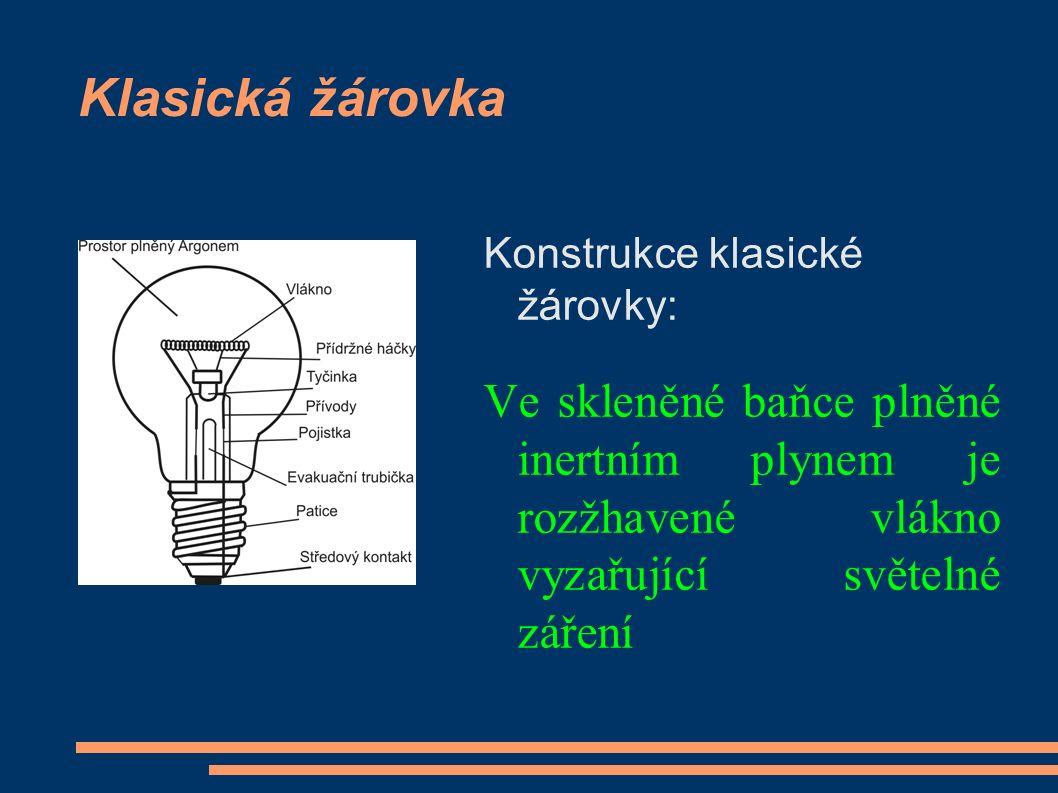 Klasická žárovka Konstrukce klasické žárovky: Ve skleněné baňce plněné inertním plynem je rozžhavené vlákno vyzařující světelné záření