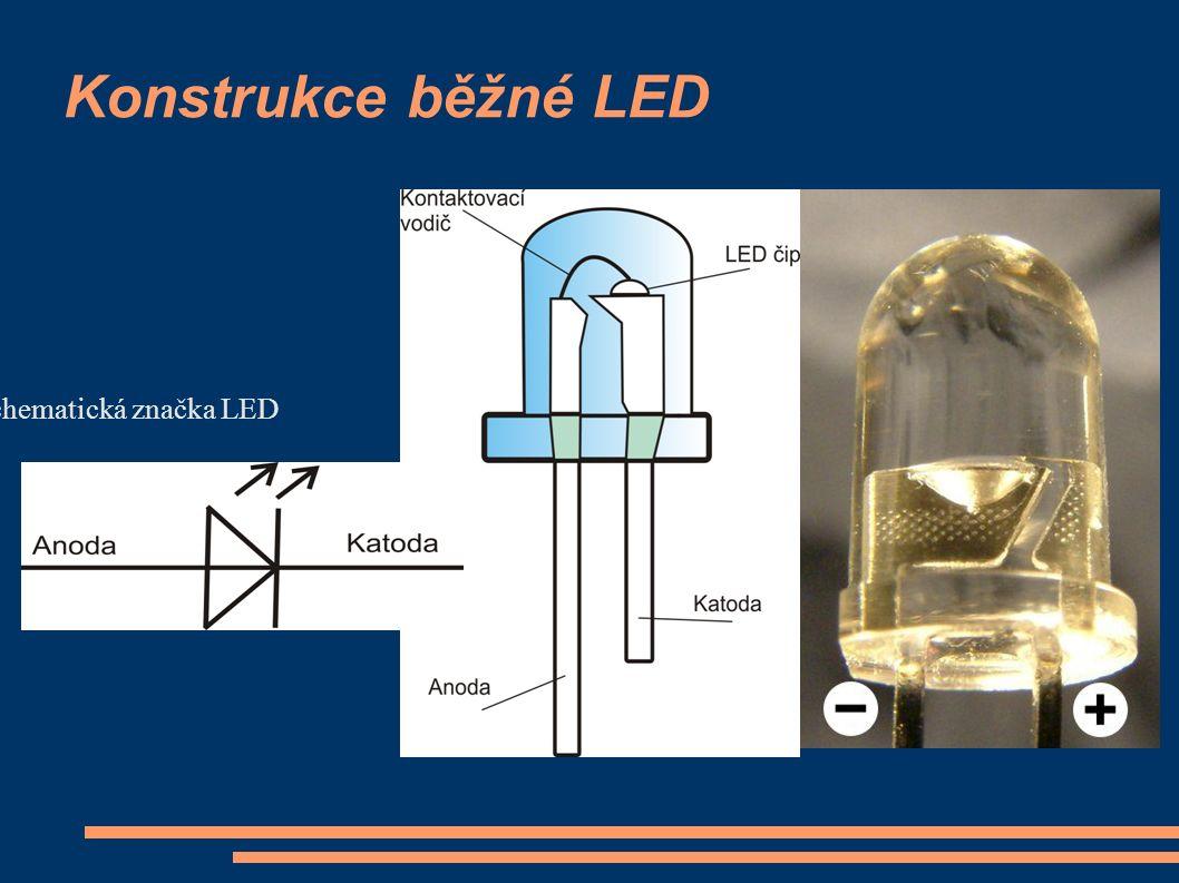 Konstrukce běžné LED Schematická značka LED