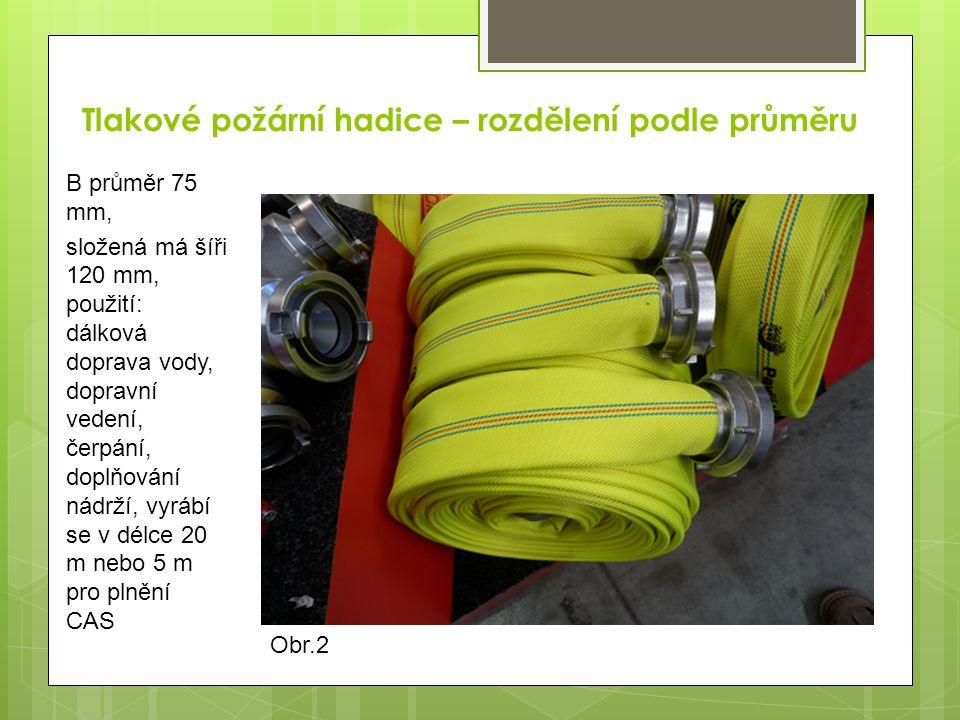 Tlakové požární hadice – rozdělení podle průměru C průměr 52 mm složená má šíři 85 mm, použití: útočné vedení, hydranty, součást některých přívěsných hasicích přístrojů, vyrábí se v délce 20 m Obr.3