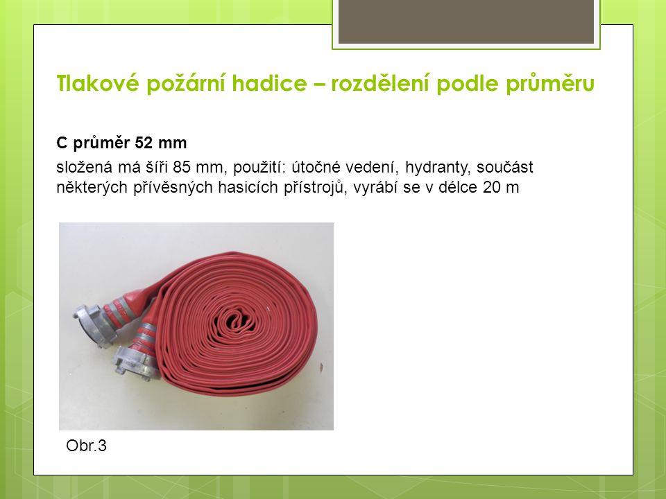 Tlakové požární hadice – rozdělení podle průměru D průměr 25 mm použití: součást vybavení nástěnných hydrantů D 25, džberových stříkaček a některých přívěsných hasicích přístrojů Obr.4Obr.5Obr.6
