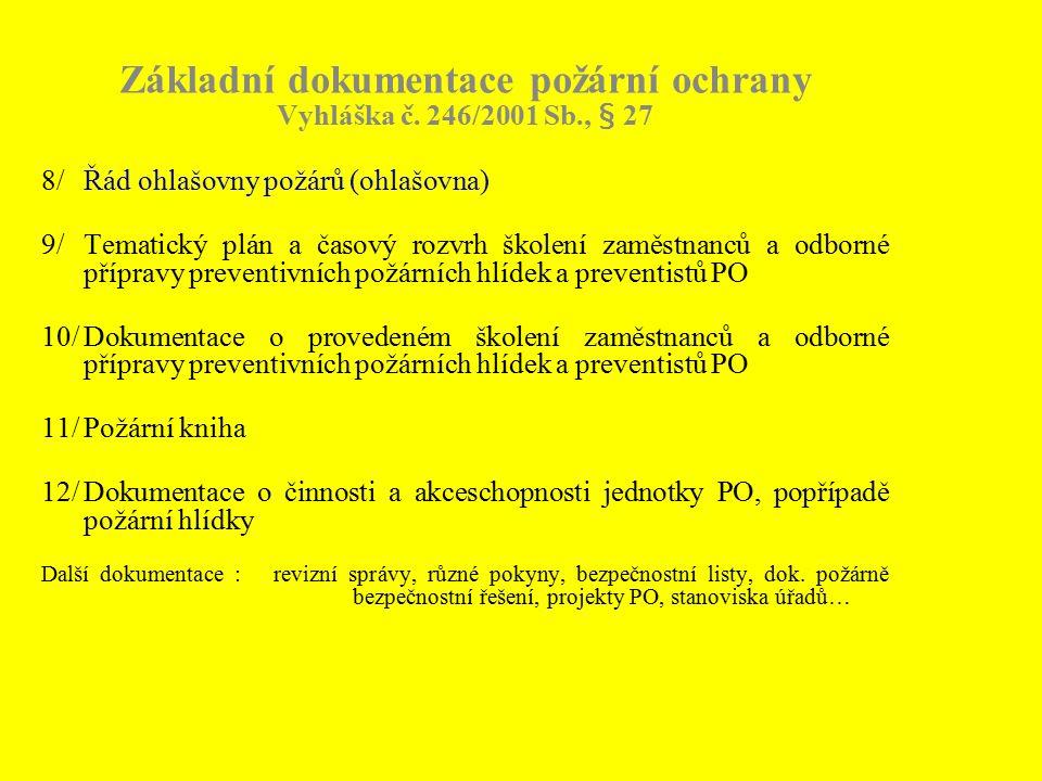 Základní dokumentace požární ochrany Vyhláška č. 246/2001 Sb., § 27 8/Řád ohlašovny požárů (ohlašovna) 9/Tematický plán a časový rozvrh školení zaměst