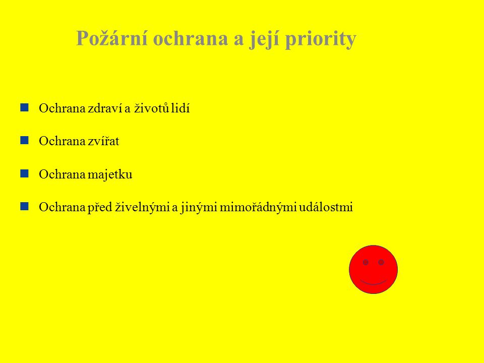 Co třeba udělat aby nevznikl požár Zabezpečit objekt z hlediska hašení Zabezpečit odbornost zaměstnanců (školení, odborná příprava) Provádět kontrolu objektů (OZO, zaměstnanci, strážní služba…) Zabezpečit funkčnost a bezpečnost TZ, VTZ (revize, projekty…) Zabezpečit objekt z hlediska evakuace osob (volnost únikových cest…) Rozmístnit požárně bezpečnostní značení Udržovat pořádek a čistotu pracovišť Vypracovat dokumentaci PO