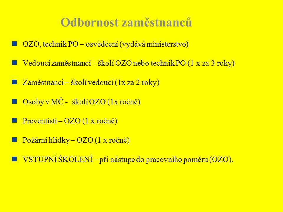 Odbornost zaměstnanců OZO, technik PO – osvědčení (vydává ministerstvo) Vedoucí zaměstnanci – školí OZO nebo technik PO (1 x za 3 roky) Zaměstnanci –