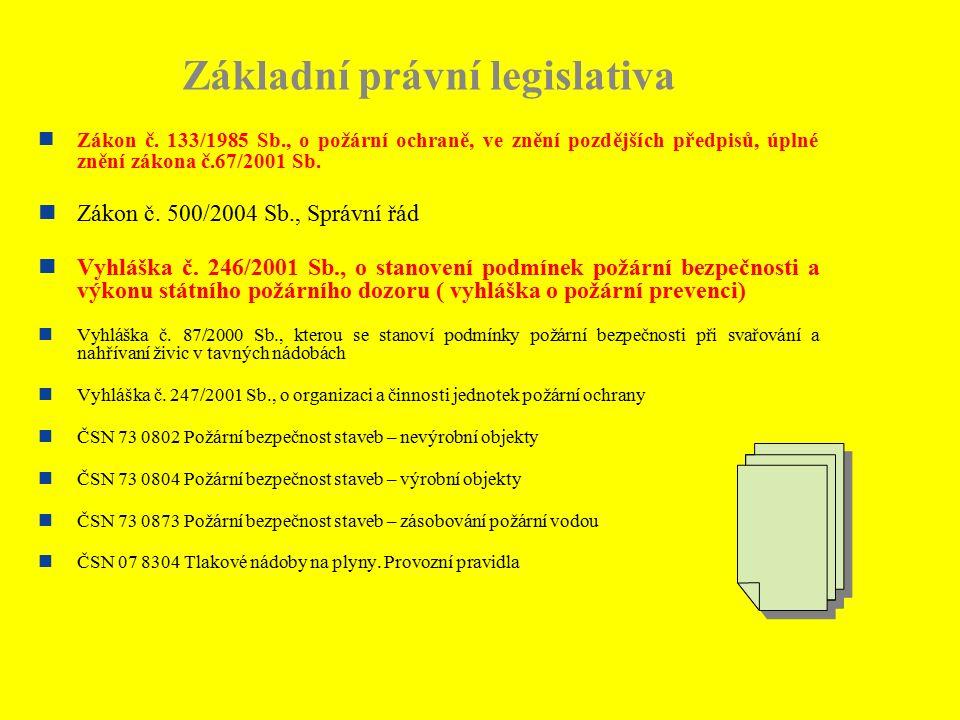 Základní právní legislativa Zákon č. 133/1985 Sb., o požární ochraně, ve znění pozdějších předpisů, úplné znění zákona č.67/2001 Sb. Zákon č. 500/2004