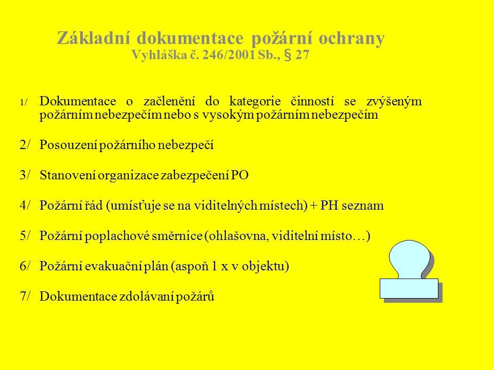 Základní dokumentace požární ochrany Vyhláška č. 246/2001 Sb., § 27 1/ Dokumentace o začlenění do kategorie činností se zvýšeným požárním nebezpečím n