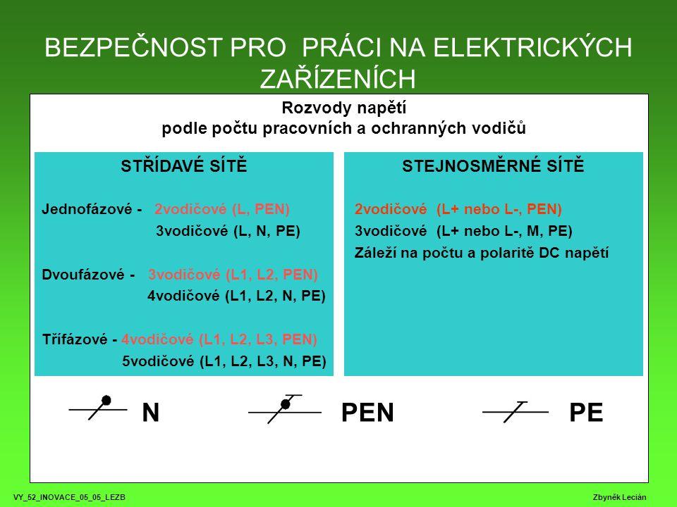 BEZPEČNOST PRO PRÁCI NA ELEKTRICKÝCH ZAŘÍZENÍCH VY_52_INOVACE_05_05_LEZB Zbyněk Lecián Rozvody napětí podle počtu pracovních a ochranných vodičů STŘÍDAVÉ SÍTĚ Jednofázové - 2vodičové (L, PEN) 3vodičové (L, N, PE) Dvoufázové - 3vodičové (L1, L2, PEN) 4vodičové (L1, L2, N, PE) Třífázové - 4vodičové (L1, L2, L3, PEN) 5vodičové (L1, L2, L3, N, PE) STEJNOSMĚRNÉ SÍTĚ 2vodičové (L+ nebo L-, PEN) 3vodičové (L+ nebo L-, M, PE) Záleží na počtu a polaritě DC napětí NPENPE