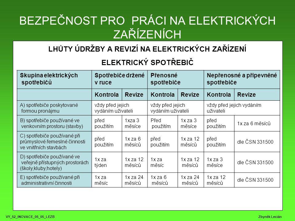 BEZPEČNOST PRO PRÁCI NA ELEKTRICKÝCH ZAŘÍZENÍCH VY_52_INOVACE_05_05_LEZB Zbyněk Lecián Přenosové sítě Rozdělení: TN - TN-C - N a PE vodič jsou sloučeny do jednoho TN-S - v celé síti je PE veden odděleně TT - jeden bod přímo uzemněný (pracovní uzemnění) a neživé části připojených elektrických zařízení jsou v této síti spojeny se zemí zemniči nezávislými na pracovním uzemnění.