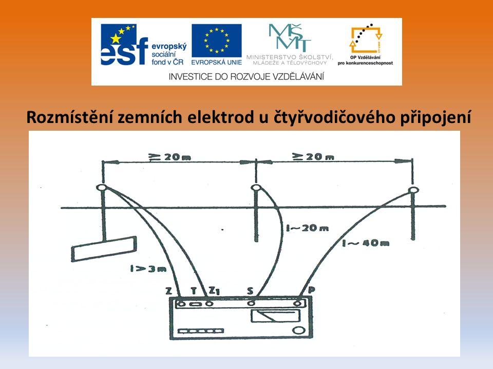 Rozmístění zemních elektrod u čtyřvodičového připojení
