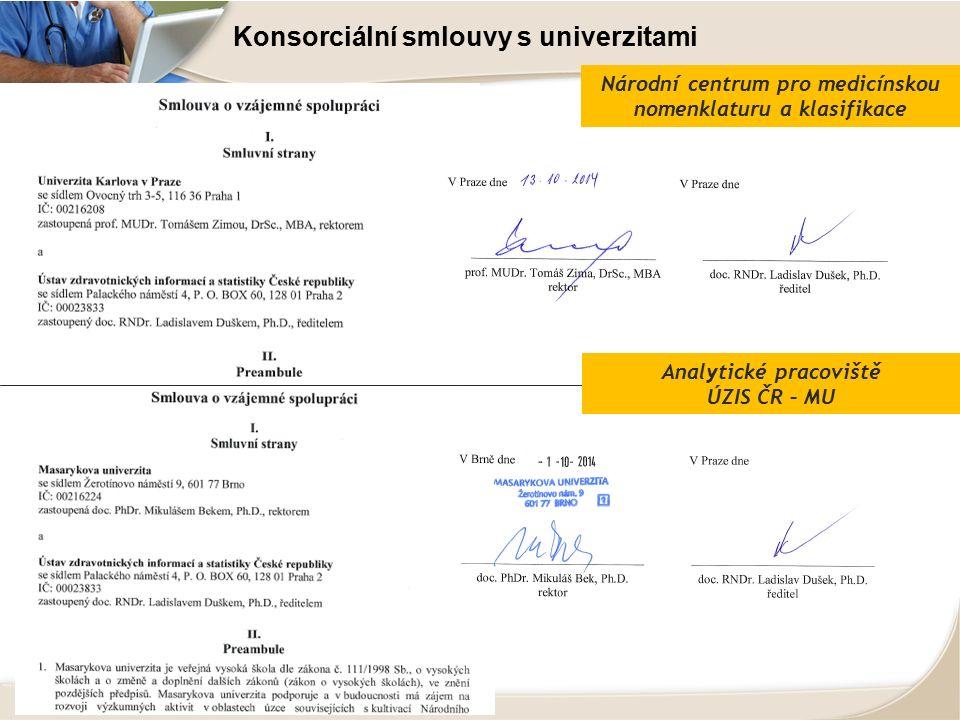 Konsorciální smlouvy s univerzitami Národní centrum pro medicínskou nomenklaturu a klasifikace Analytické pracoviště ÚZIS ČR – MU