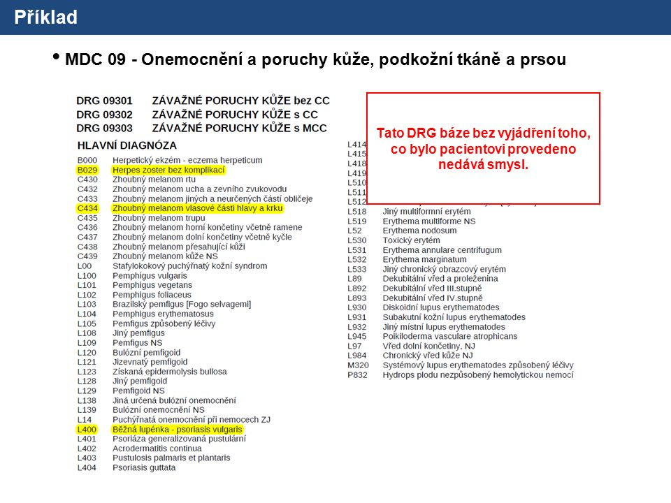 Příklad MDC 09 - Onemocnění a poruchy kůže, podkožní tkáně a prsou Tato DRG báze bez vyjádření toho, co bylo pacientovi provedeno nedává smysl.