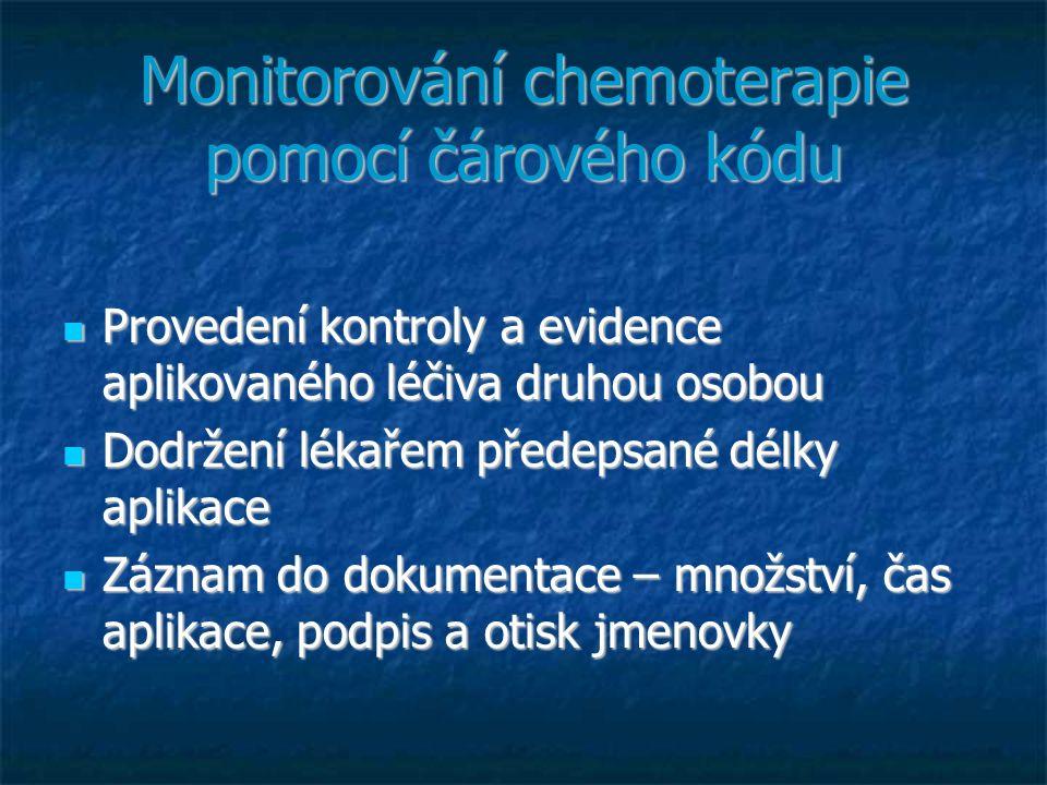 Monitorování chemoterapie pomocí čárového kódu Provedení kontroly a evidence aplikovaného léčiva druhou osobou Provedení kontroly a evidence aplikovan