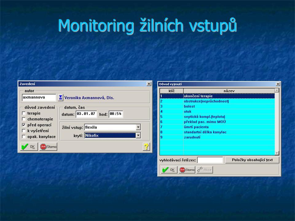 Monitoring žilních vstupů