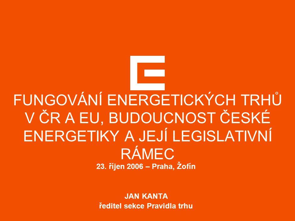 11 AGENDA  Evropská energetická politika  Trh s elektřinou v ČR a jeho stav  Stav a předpoklad vývoje na velkoobchodním trhu s elektřinou  Možnosti pořízení elektřiny na velkoobchodním trhu pro rok 2007  Maloobchodní trh s elektřinou  Praktické kroky ČEZ vedoucí k rozvoji trhu a zajištění dodávek
