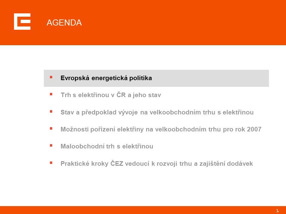 22 AGENDA  Evropská energetická politika  Trh s elektřinou v ČR a jeho stav  Stav a předpoklad vývoje na velkoobchodním trhu s elektřinou  Možnosti pořízení elektřiny na velkoobchodním trhu pro rok 2007  Maloobchodní trh s elektřinou  Praktické kroky ČEZ vedoucí k rozvoji trhu a zajištění dodávek