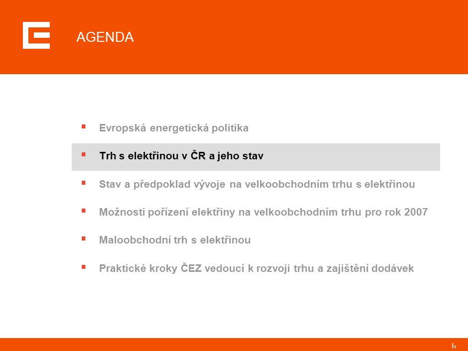 7 STAV TRHU S ELEKTŘINOU V ČR … Byla schválena novela energetického zákona implementující směrnice 2003/54/55 a 2004/8 Funguje systém vyhodnocování a zúčtování transakcí (OTE) Regulační úřad plní svoji roli a je respektovaný účastníky trhu Trh s podpůrnými službami je konkurenční a cenotvorný Podařilo se nastavit tržní mechanismus přidělování obchodovatených přeshraničních kapacit Na trhu operují aktivní obchodníci s elektřinou Oprávnění zákazníci využívají svého práva volit si dodavatele (mění své dodavatele, vypisují výběrová řízení na dodavatele, přesjednávají podmínky s existujícími dodavateli) Ceny elektřiny odrážejí vývoj na relevantním trhu 1 2 3 4 5 6 7 8 … JE NASTAVEN TAK, ŽE S ŘADOU SKUTEČNOSTÍ MŮŽEME BÝT SPOKOJENI Zdroj:ČEZ, a.