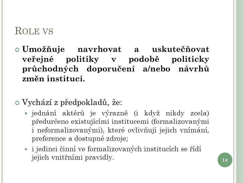 R OLE VS Umožňuje navrhovat a uskutečňovat veřejné politiky v podobě politicky průchodných doporučení a/nebo návrhů změn institucí.