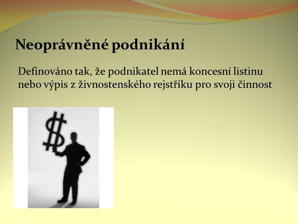 Neoprávněné podnikání Definováno tak, že podnikatel nemá koncesní listinu nebo výpis z živnostenského rejstříku pro svoji činnost