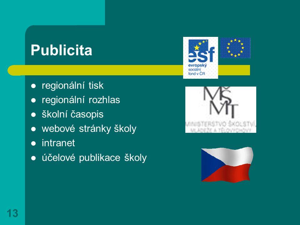 13 Publicita regionální tisk regionální rozhlas školní časopis webové stránky školy intranet účelové publikace školy