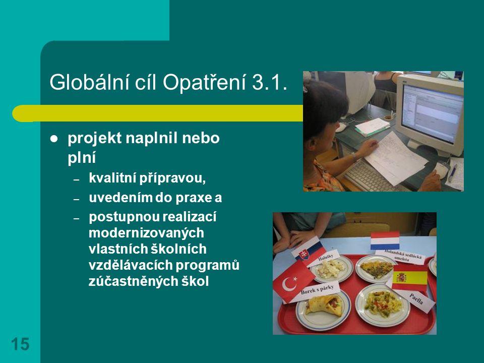 15 Globální cíl Opatření 3.1. projekt naplnil nebo plní – kvalitní přípravou, – uvedením do praxe a – postupnou realizací modernizovaných vlastních šk