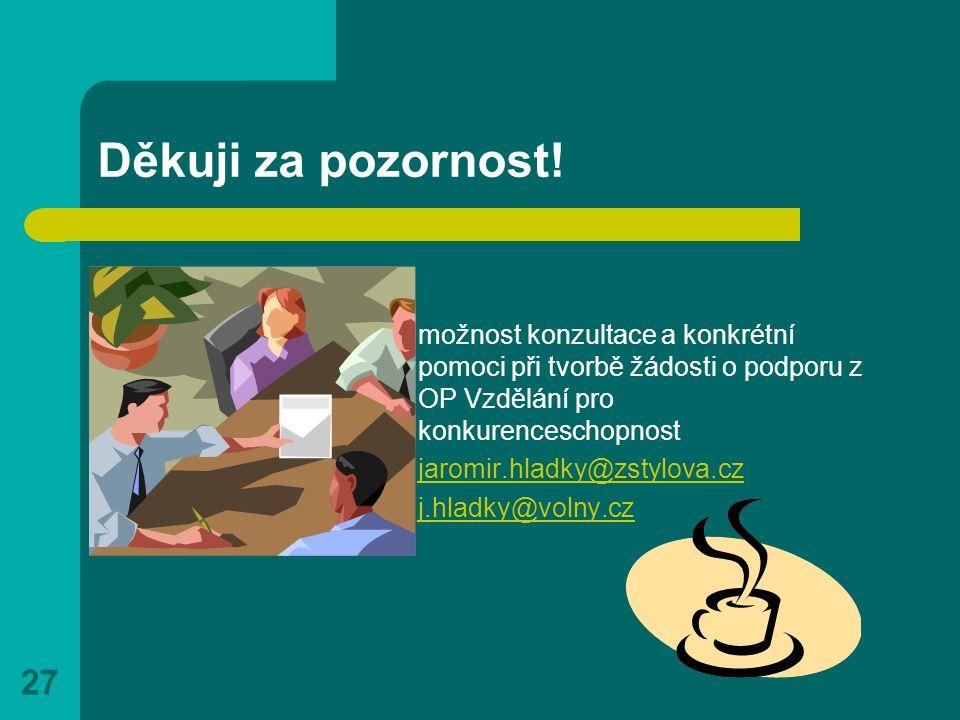 27 Děkuji za pozornost! možnost konzultace a konkrétní pomoci při tvorbě žádosti o podporu z OP Vzdělání pro konkurenceschopnost jaromir.hladky@zstylo