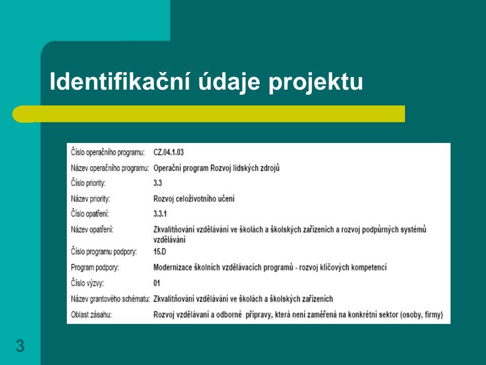 3 Identifikační údaje projektu