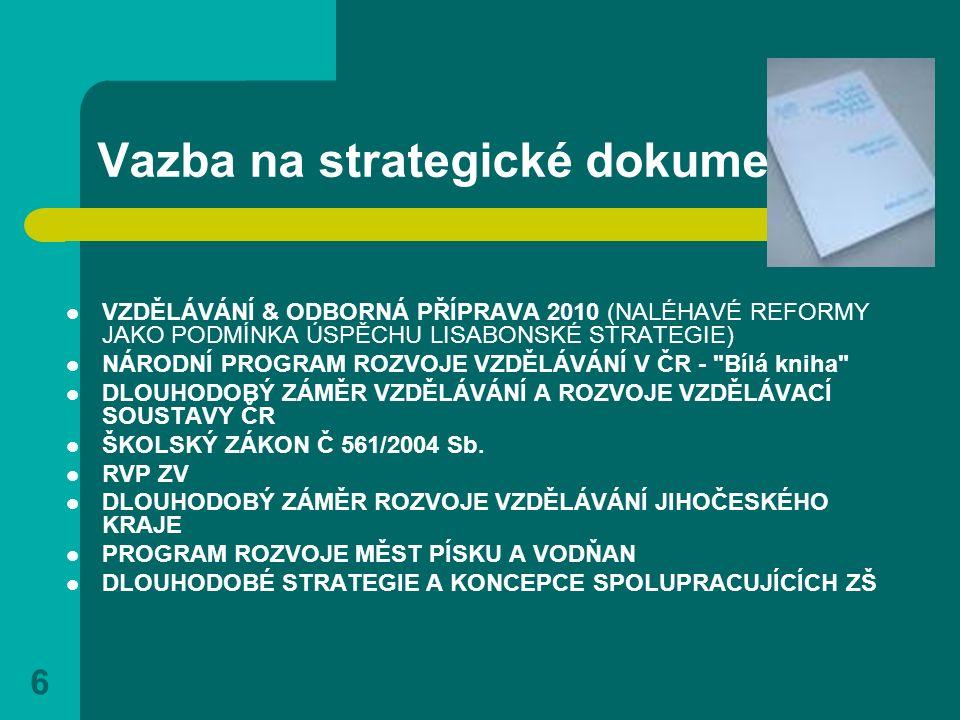 6 Vazba na strategické dokumenty VZDĚLÁVÁNÍ & ODBORNÁ PŘÍPRAVA 2010 (NALÉHAVÉ REFORMY JAKO PODMÍNKA ÚSPĚCHU LISABONSKÉ STRATEGIE) NÁRODNÍ PROGRAM ROZV