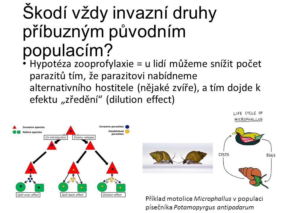 Škodí vždy invazní druhy příbuzným původním populacím? Hypotéza zooprofylaxie = u lidí můžeme snížit počet parazitů tím, že parazitovi nabídneme alter
