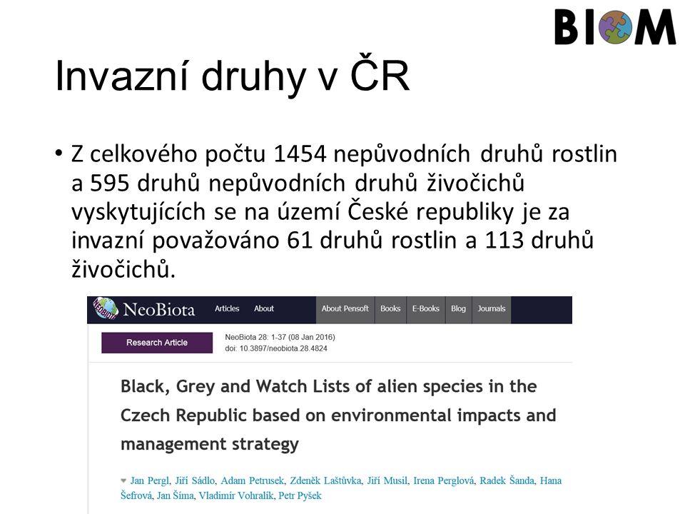 Invazní druhy v ČR Z celkového počtu 1454 nepůvodních druhů rostlin a 595 druhů nepůvodních druhů živočichů vyskytujících se na území České republiky je za invazní považováno 61 druhů rostlin a 113 druhů živočichů.