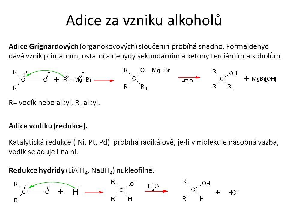 Adice za vzniku alkoholů Adice Grignardových (organokovových) sloučenin probíhá snadno. Formaldehyd dává vznik primárním, ostatní aldehydy sekundárním