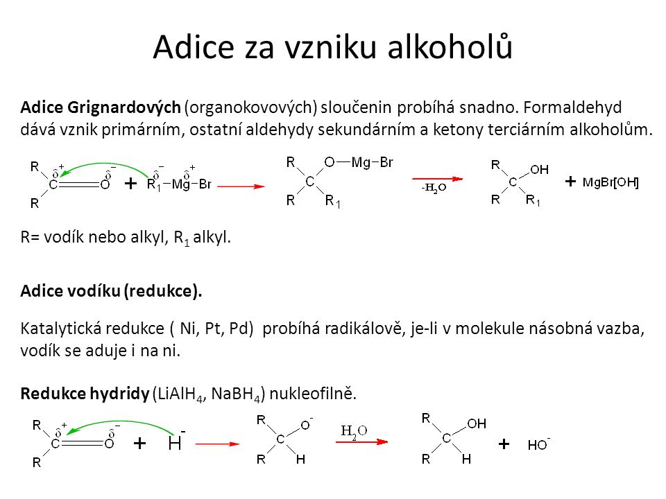 Adice za vzniku alkoholů Adice Grignardových (organokovových) sloučenin probíhá snadno.