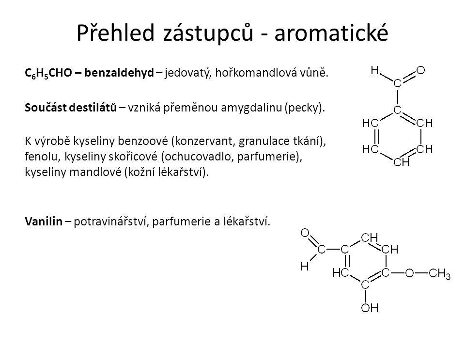 Přehled zástupců - aromatické C 6 H 5 CHO – benzaldehyd – jedovatý, hořkomandlová vůně.
