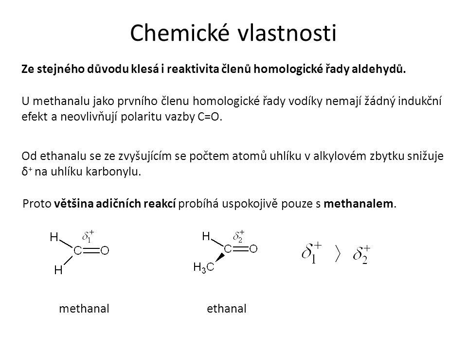 Chemické vlastnosti Ze stejného důvodu klesá i reaktivita členů homologické řady aldehydů.