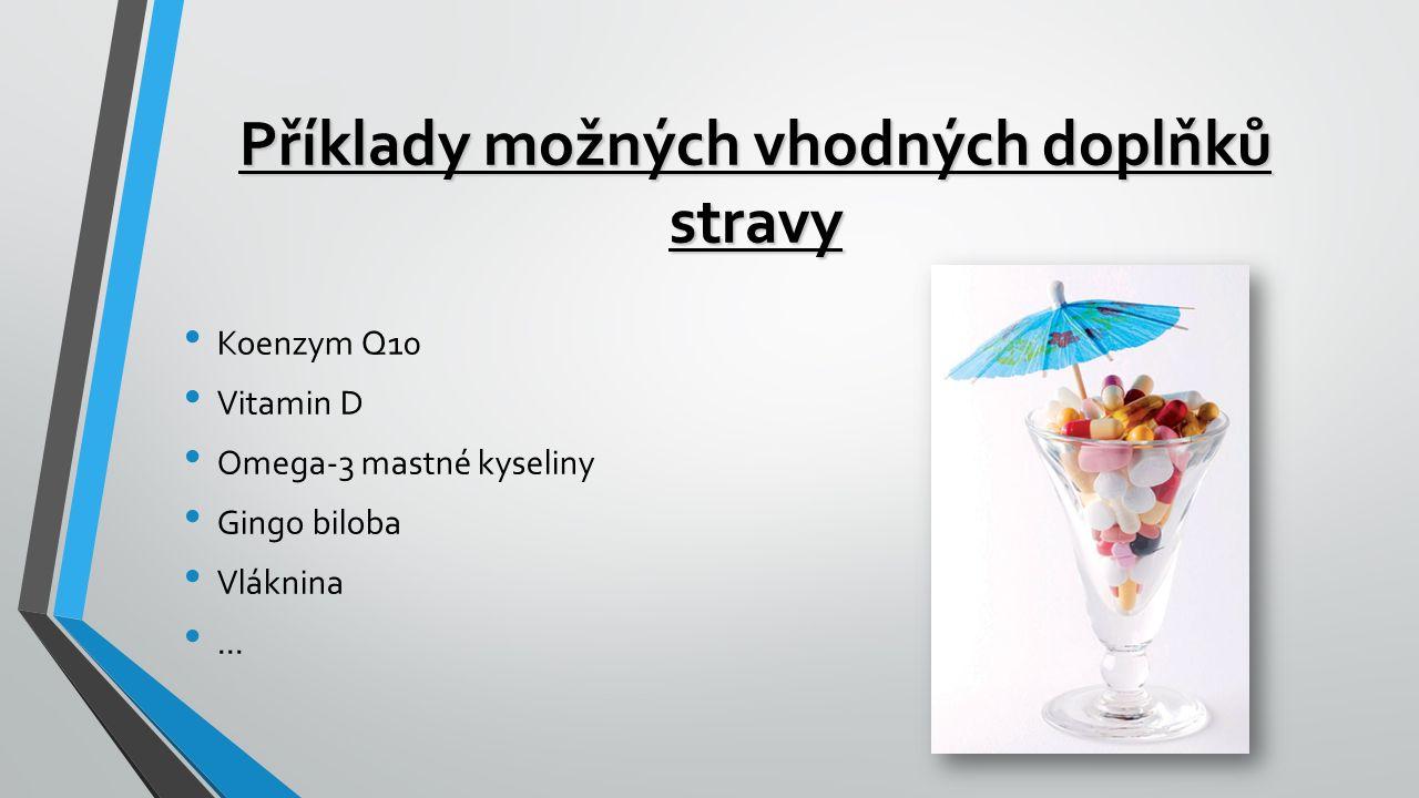 Příklady možných vhodných doplňků stravy Koenzym Q10 Vitamin D Omega-3 mastné kyseliny Gingo biloba Vláknina...