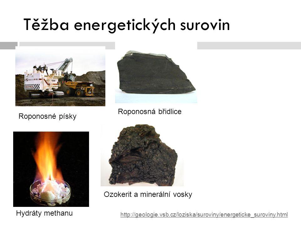 Těžba ropy a zemního plynu v ČR  Podíl tuzemských zdrojů na celkové spotřebě malý: ropa – 4 %, zemní plyn – 2,0 %  Celkem je v ČR 70 dobývacích prostor, z toho je 38 v těžbě  MND (dříve Moravské naftové doly, a.s.