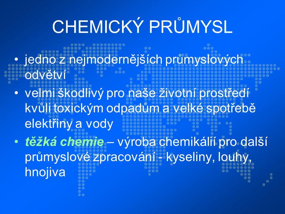 CHEMICKÝ PRŮMYSL jedno z nejmodernějších průmyslových odvětví velmi škodlivý pro naše životní prostředí kvůli toxickým odpadům a velké spotřebě elektřiny a vody těžká chemie – výroba chemikálií pro další průmyslové zpracování - kyseliny, louhy, hnojiva